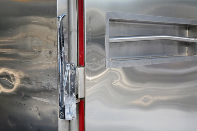 Reflective surface of stainless steel freezer