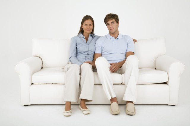Portrait of couple on couch
