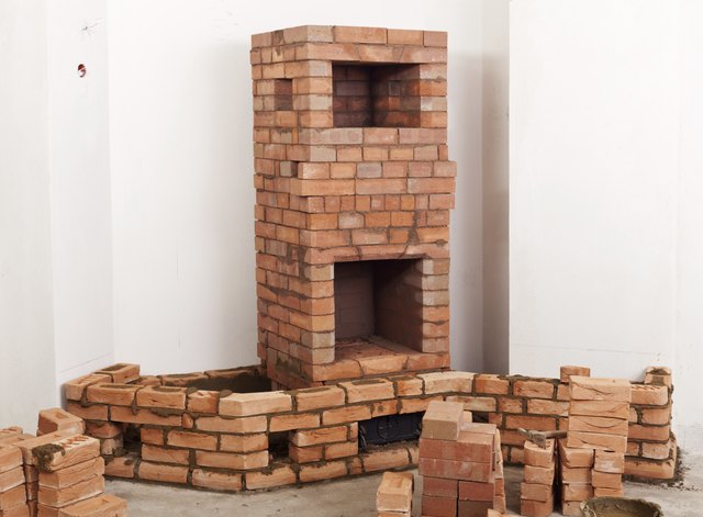 Partially built masonry heater