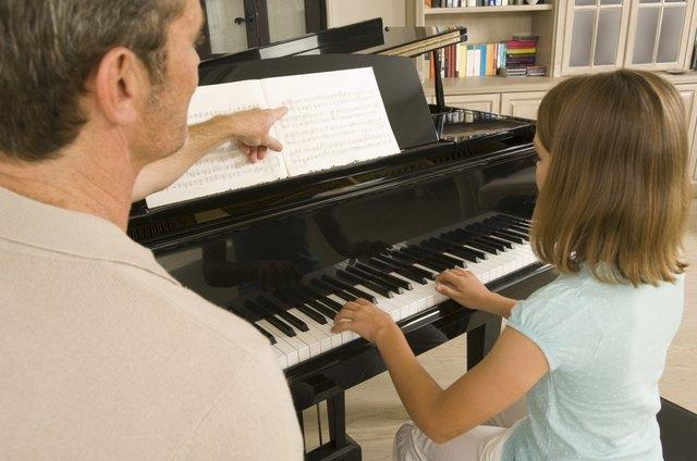 Man and girl playing piano