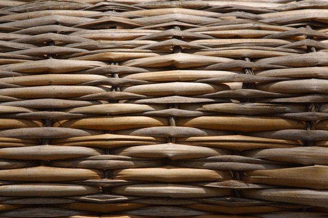 Close-up of woven straw texture
