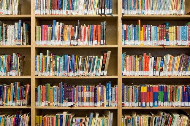 Book shelfs in children's library.