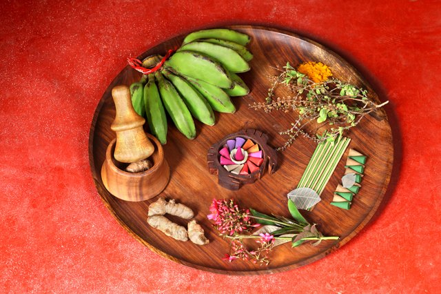 Close up of ingredients in a plate, Kerala ayurveda