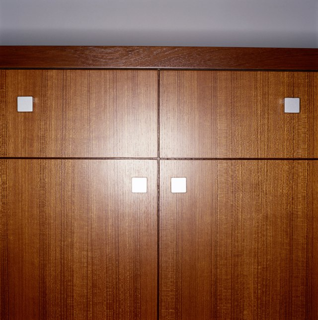 Wood cabinet, close-up