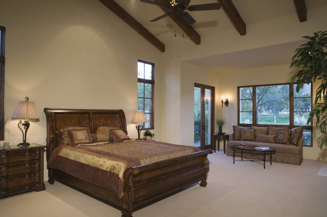 Sleigh bed in Palm Springs home