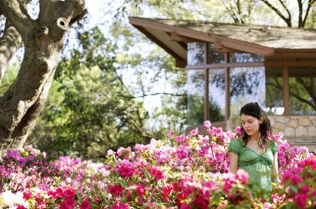Woman standing in a flowering garden
