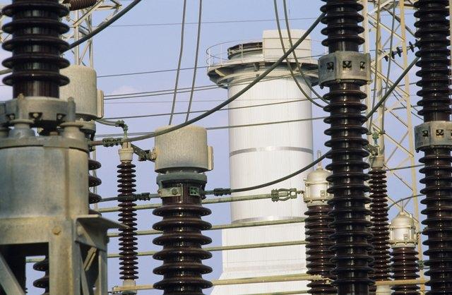 Switch yard insulators at Power station, close-up