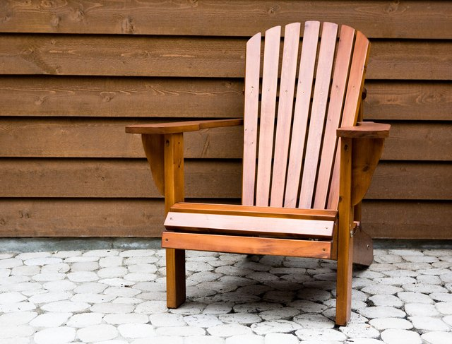 Wooden chair on patio