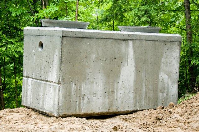 Concrete septic tank at construction site