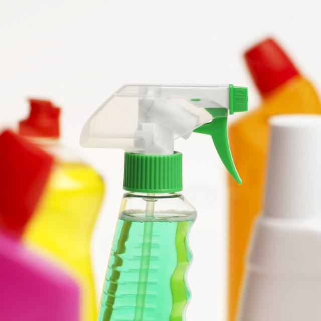 Close-up of five cleaning products