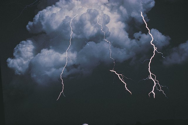 Cloudy sky with lightning