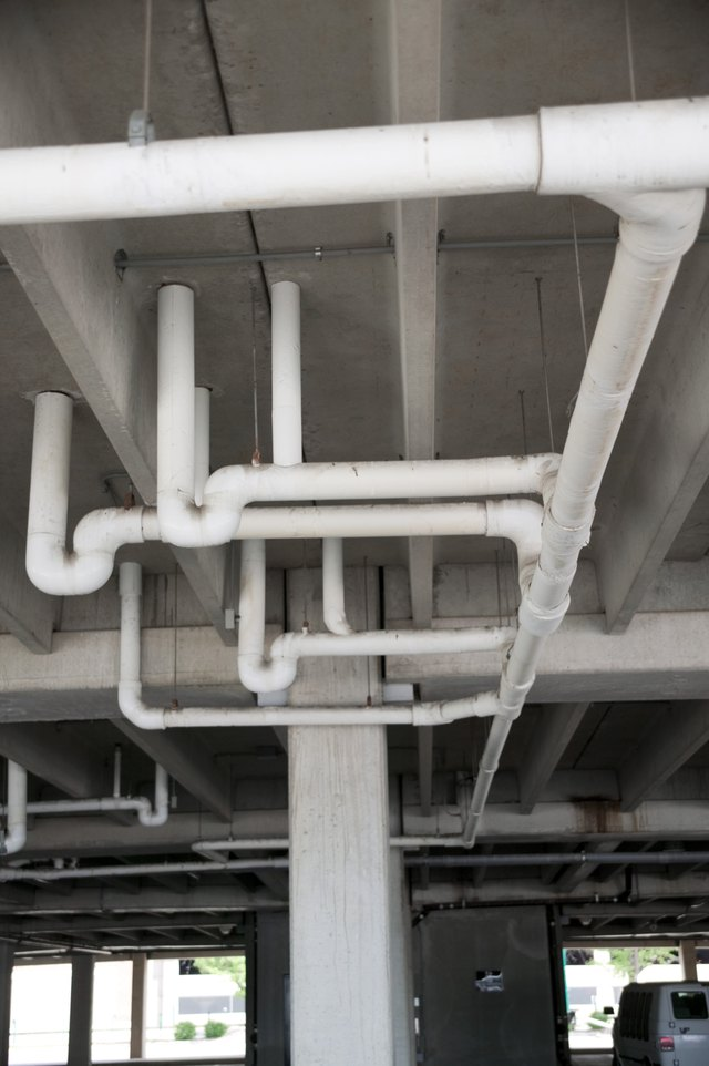 Pipes in ceiling of industrial building