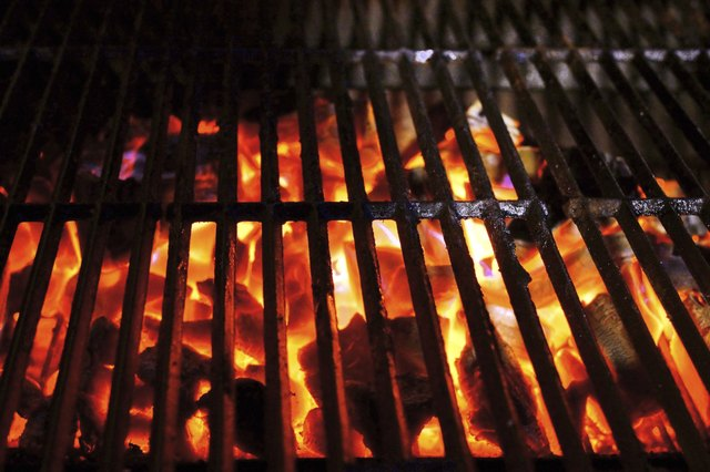 Charcoal burning  in a BBQ