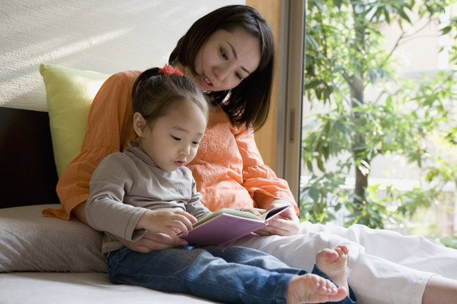 Mother Reading Picture Book for Daughter