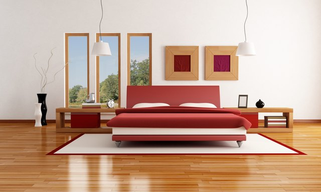 red and white  modern bedroom