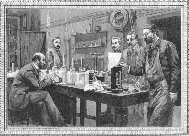 Scientists in physics lab in Sarbonne, Paris
