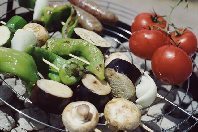 Vegetables cooking on barbecue