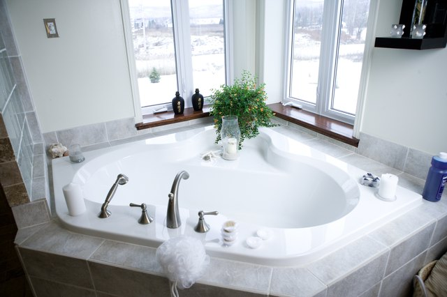High angle view of spa tub in bathroom