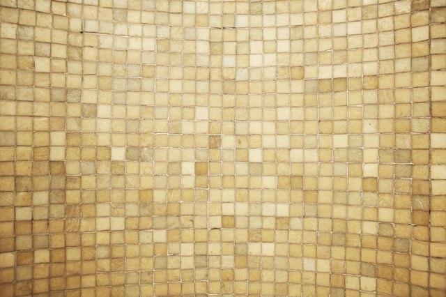 Worn bathroom tiling