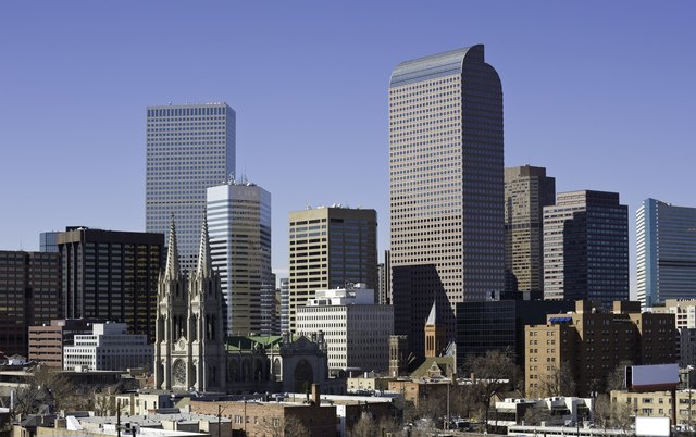 Downtown Denver Colorado Skyline showing Cathedral and Office Skyscraper Buildings