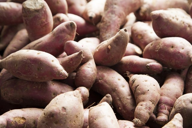 Pile of red sweet potato