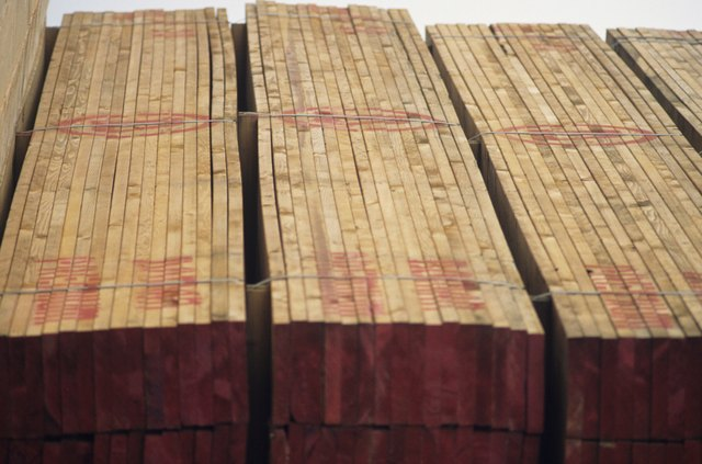 lumber on docks ready for export, close-up