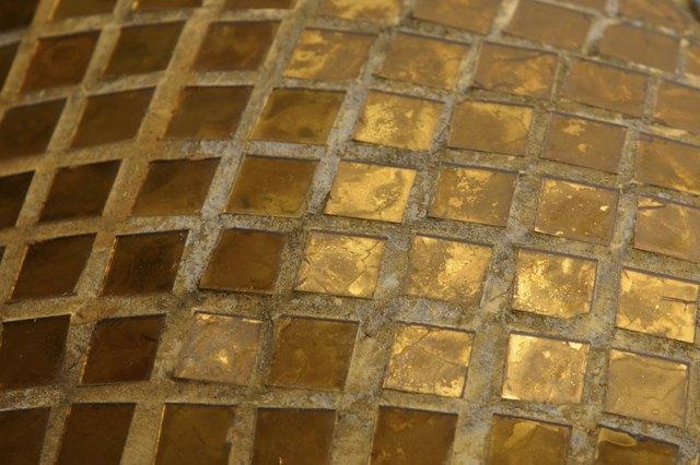 Golden mosaic tiles