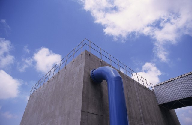 Water treatment building at Desalination Plant, Cyprus, low angle view