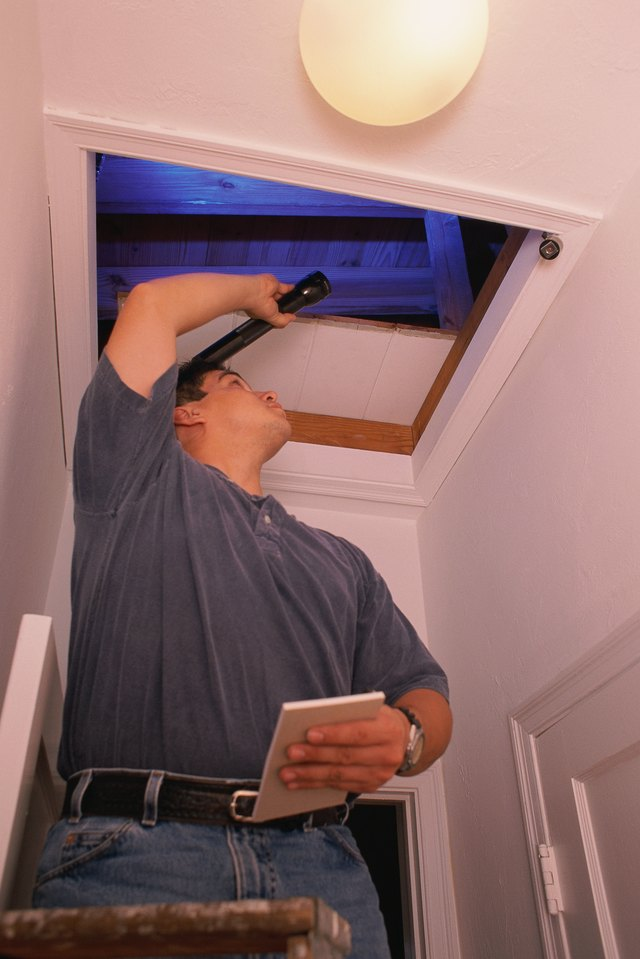 Man standing on ladder to look in attic, using flashlight