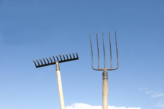 Pitchfork and metal rake