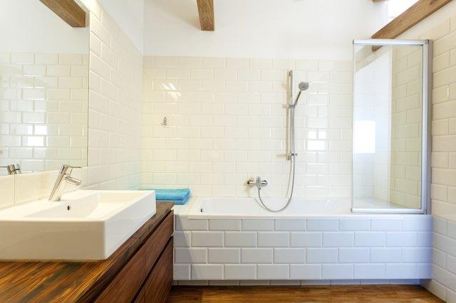 Horizontal view of modern bathroom
