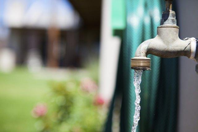 Water running from a garden tap