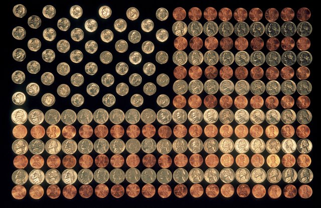 Coins Forming US Flag