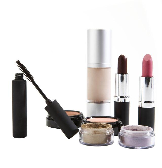 Cosmetics on white background
