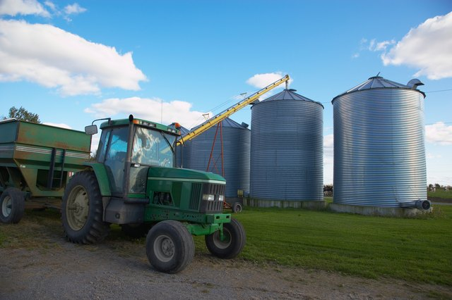 Silos and tractor