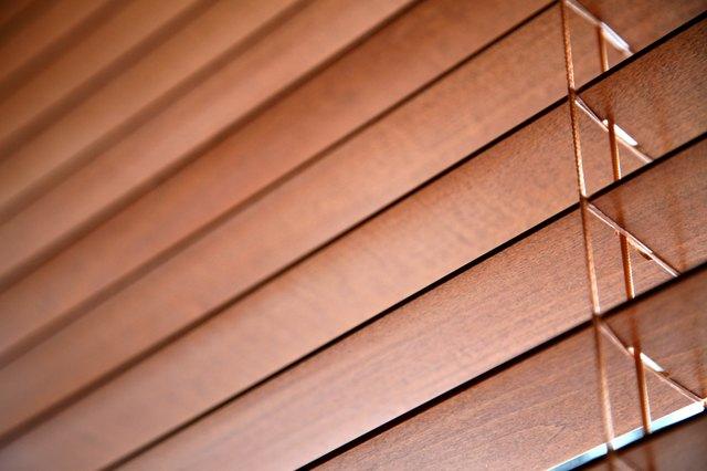Close-up of wooden slats in venetian blind