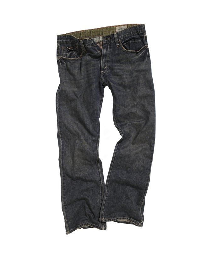 Denim jeans on white background