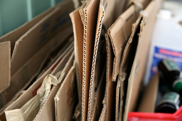 Close-up of cardboard boxes for recycling