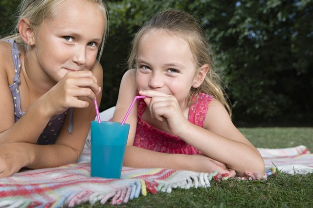Girls sharing a drink