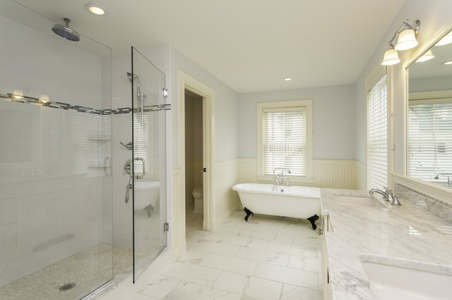 Large Bathroom with Enclosed Glass Shower
