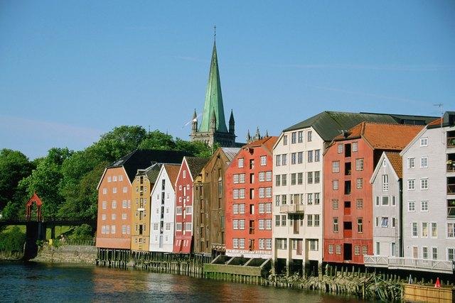 Buildings on the bank of Nidelva River, Trondheim, Norway