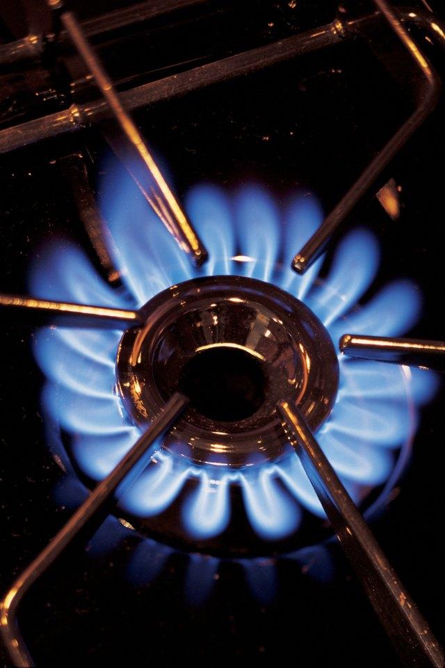 Gas stove burner lit