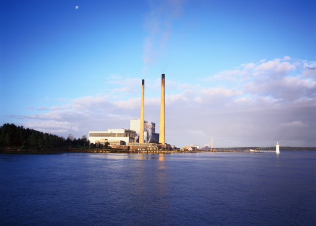 View of an industrial plant on a riverside