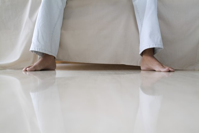 A person sitting bare feet