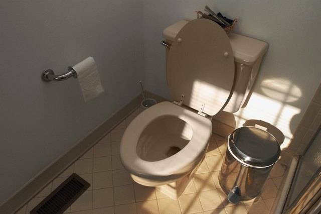 High angle view of domestic bathroom