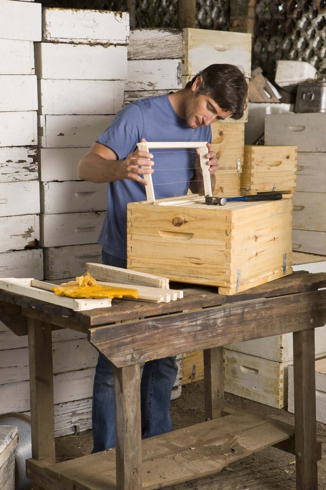 Man building beehives