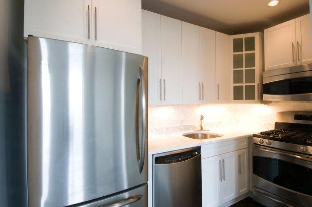 Steel refrigerator in kitchen