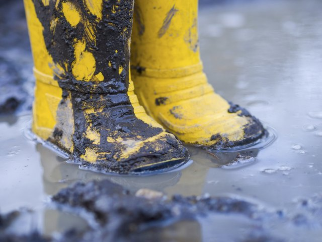 Yellow boots in puddle