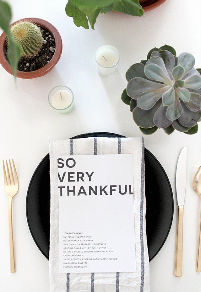 thanksgiving menu card
