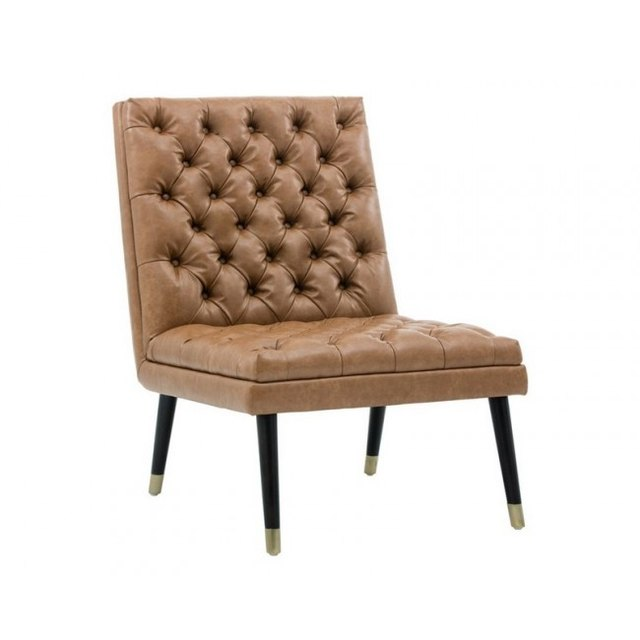 Caramel Leather Tufted chair